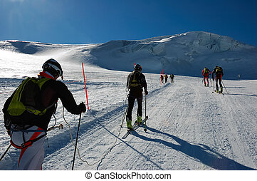 BACKCOUNTRY SKIERS - Group of backcountry skiers (ski ...