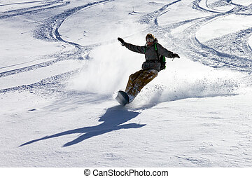 Backcountry snowboarding - Snowboarder is having fun in the ...