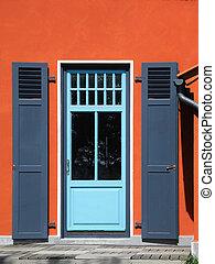 backdoor with shutters - backdoor and orange house facade