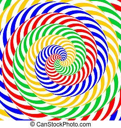 backdrop., coloridos, abstratos, movimento, ilustração, distorção, experiência., desenho, circular, listrado, vector-art, ilusão, whirlpool