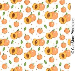 backdrop., pêssego, damasco, pattern., seamless, fundo, vetorial, frutas, infinito, texture., illustration.