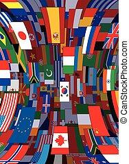 backdrop., polityczny, wektor, bandery, tło, świat