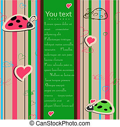Backdrop with ladybirds in love. vector eps 10