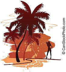 backdround, verano, palmas