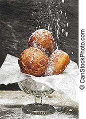 backen, bowl., frisch, donuts, zucker, papier, köstlich ,...