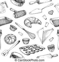 backen, geschirr, muster, seamless, baking., füllen