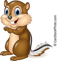 backenhörnchen, karikatur, sitzen