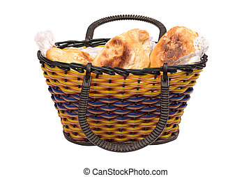 Backet of pasties - Basket full of pasties isolated on white