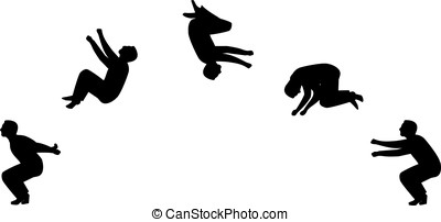 Backflip - A man doing a back somersault in sillhouette...