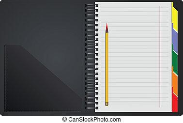 backg, bianco, quaderno, nero, aperto