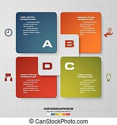 backg, elvont, lépések, 4, infographics