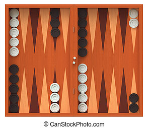 Backgammon - 3D render of backgammon game board isolated...