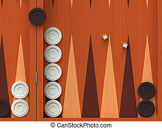 Backgammon - 3D render of  traditional backgammon game board