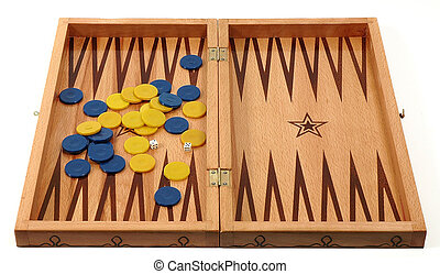 backgammon board on white