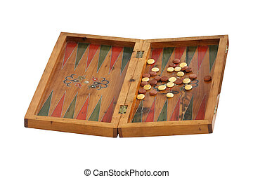 Retro backgammon board isolated with clipping path included