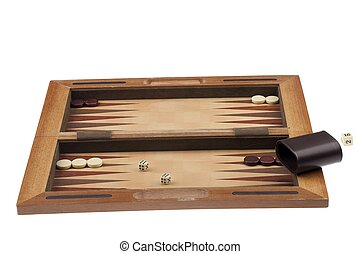 backgammon board with dice and chips