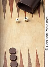 backgammon board with dices and piece