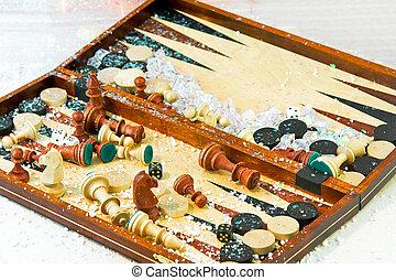Backgammon - Close up shot of backgammon and chess