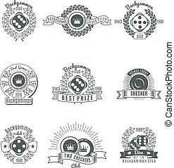 Backgammon Clubs Vintage Style Emblems