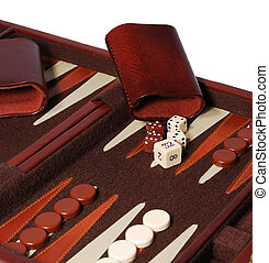 Detail view of portable backgammon game board and pieces.