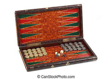 backgammon in the carved box inlaid with skin, counters and...
