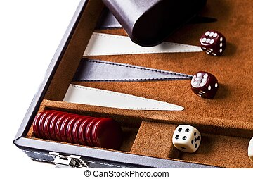 backgammon table with materials