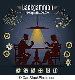 Backgammon vintage style design with chips and couple of people playing game on dark background vector illustration