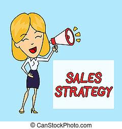 backgdrop, foto, vendite, strategy., box., tuo, mercato, giovane, scrittura, nota, testo, parlante, affari donna, raggiungimento, marketing, esposizione, piano, bersaglio, colorato, blowhorn, showcasing, vendita