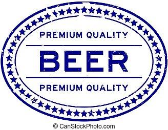 backgoround, bleu, cachet, qualité, mot, prime, timbre, grunge, bière, caoutchouc, blanc, ovale
