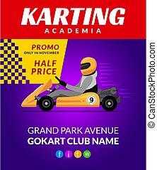 backgorund, ヘルメット, 行きなさい, poster., スポーツ, 運転手, karting, 自動車, kart, 漫画, レース, 背景