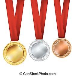 backgorund, blanc, ensemble, médailles