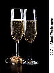 backgorund, champagne, noir, lunettes