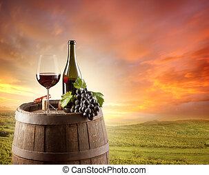 backgorund, leven, wijngaard, nog, rode wijn