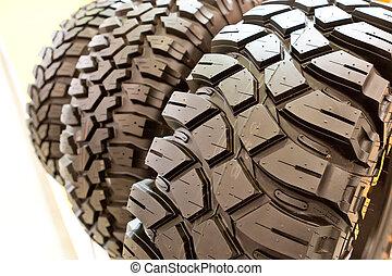 backgorund, pneus, caoutchouc, noir, beaucoup