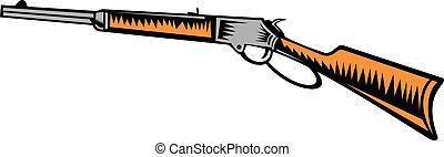 backgorund, winchester, vendimia, aislado, rifle, blanco