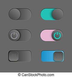 backgound., éléments, fermé, square., sliders, ensemble, cabillot, sombre, simple, commutateur, vecteur, conception, commutateur, ton