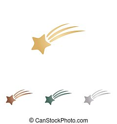 backgound., étoile, icônes, signe., métal, blanc, tir