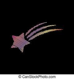 backgound., étoile, signe., effet, craie, coloful, noir, tir