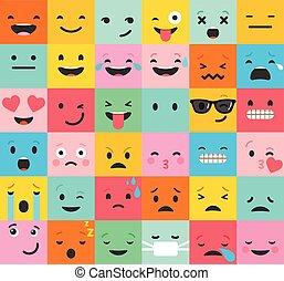 backgound, パターン, emoticons, カラフルである, セット, 平ら, emoji
