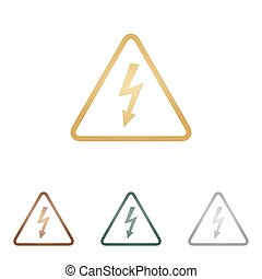 backgound., danger, signe., icônes, métal, haute tension, blanc