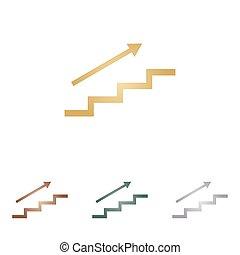 backgound., escalier, icônes, métal, arrow., blanc