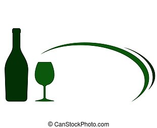 backgound with green wine bottle and glass