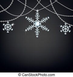 Backgound with snowflakes - Black background with snowflakes...