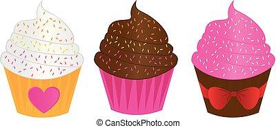 backgr, かわいい, ケーキ, カップ, chocolatestrawberry, バニラ, 白, 上に
