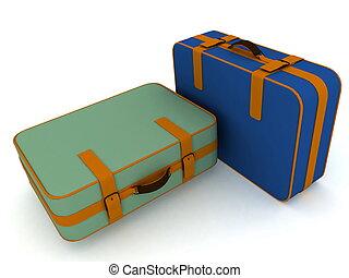backgr, スーツケース, 隔離された, 白