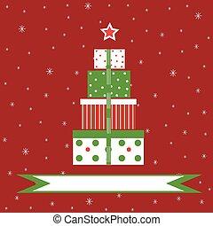 backgr, 贈り物, クリスマス, 赤, 雪が多い
