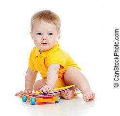 backgr, 遊び, ミュージカル, 隔離された, 子供, toys., 面白い, 白