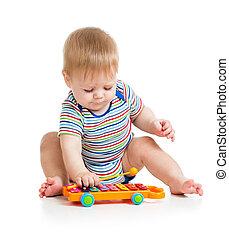 backgr, 面白い, 隔離された, ミュージカル, toys., 子供, 白, 遊び