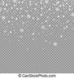 backgr, aislado, nieve, decoración, caer, navidad, transparente