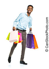 backgr, borse, shopping, americano, presa a terra, africano, bianco, uomo, felice